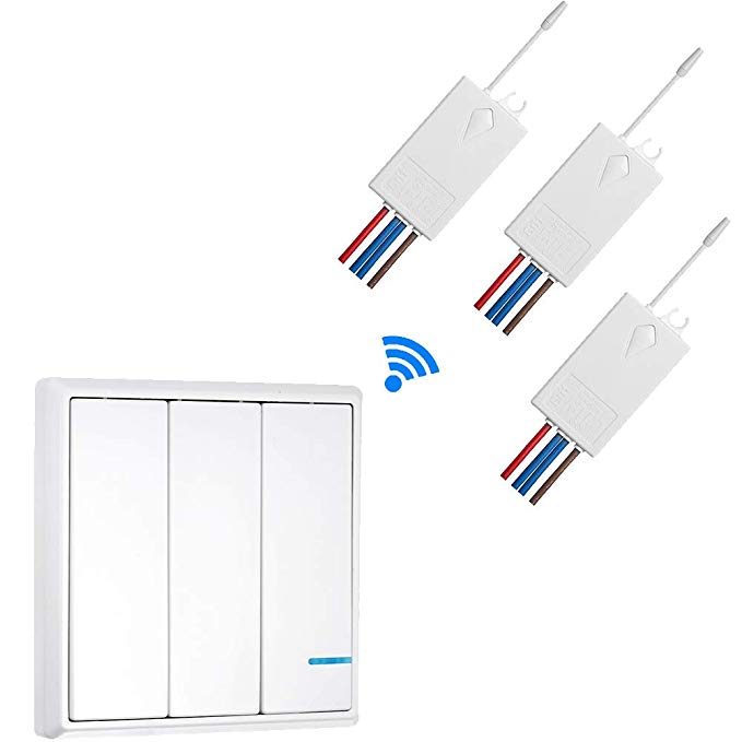 Wireless Light Switch 3 Way With 3 Receiver Waterproof Ip54 Remote Control Basic Wireless Light Switch Outdoor With Images Wireless Lights Wireless Light Switch Led Bulb