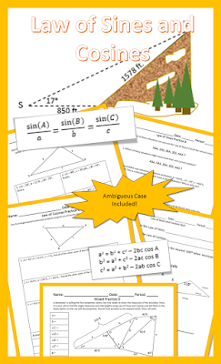 This Lesson Covers The Law Of Sines And Cosines The Students Will Derive Both Laws And Then Practice Them Ambiguo Law Of Sines Teacher Support Secondary Math