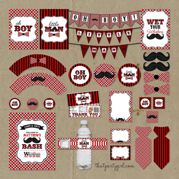 Red Black Little Man Birthday Party Package Decorations Favors
