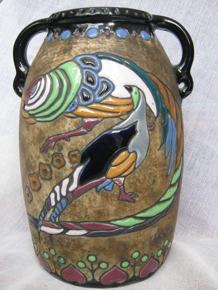 Antique Austrian Amphora Vase Large Art Noveau Birds Enamel Hand Painted Circa 1909 Campina Series Imperial Austrian Amphora