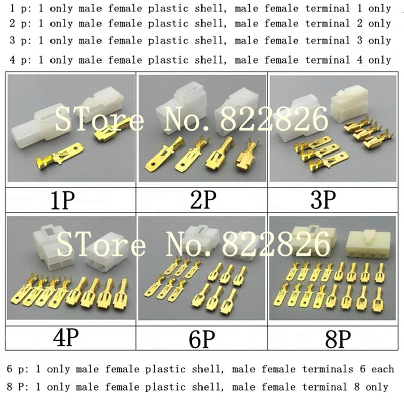 6 3mm 1 2 3 4 6 8 Pin Automotive 6 3 Electrical Wire Connector Male Female Cable Terminal Plu Electrical Wire Connectors Electrical Wiring Electrical Equipment