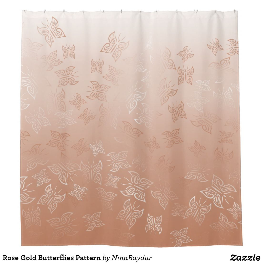 Rose gold butterflies pattern shower curtain copper for Rose gold bathroom decor