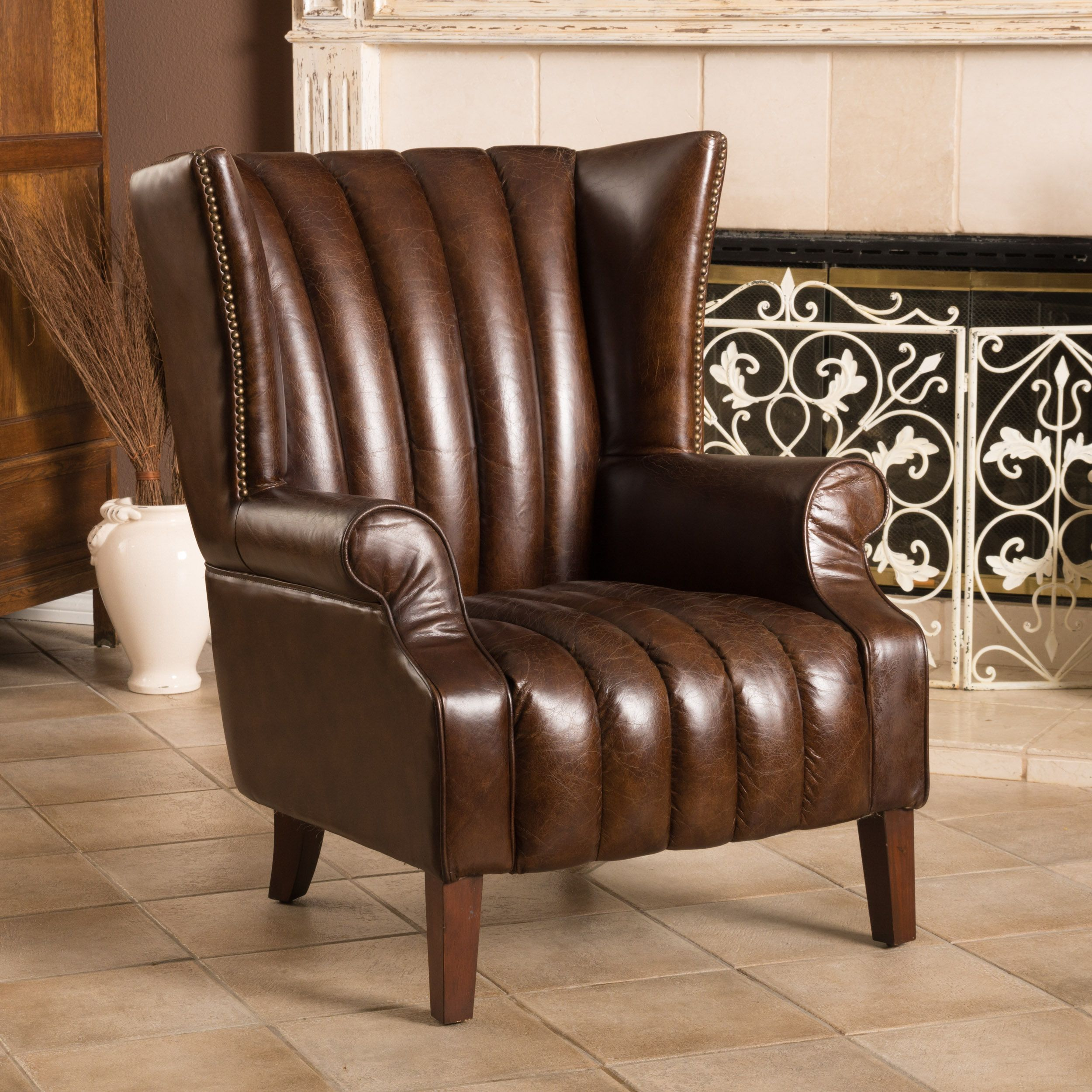 Warner Bonded Leather High Back Chairchristopher Knight Home Captivating High Back Living Room Chair Design Inspiration