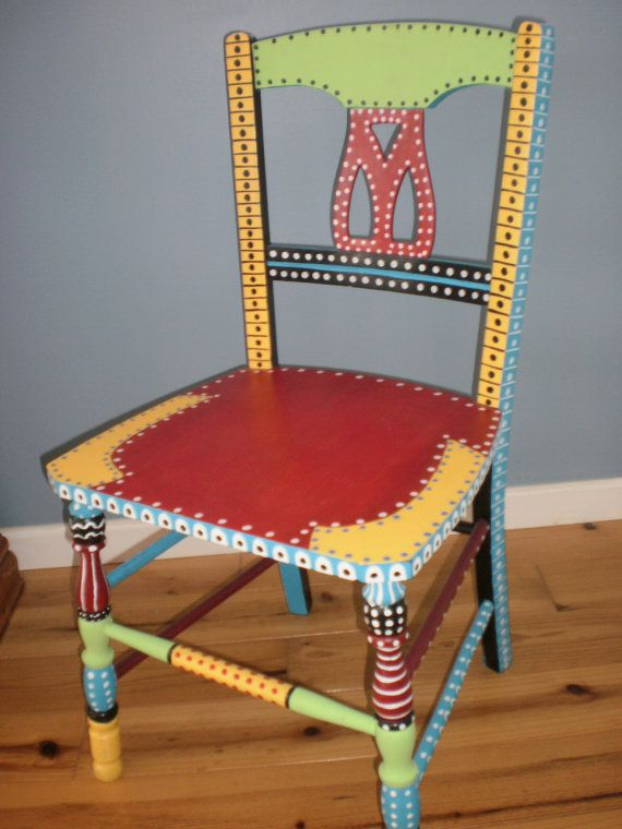 Hand Painted Whimsical Chair Gypsy Folk Art Brilliant Colors One Of A Kind