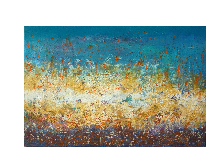 Tableau Paysage Abstrait Bleu Jaune Blanc Original Texture Moderne Painting Art Abstrait