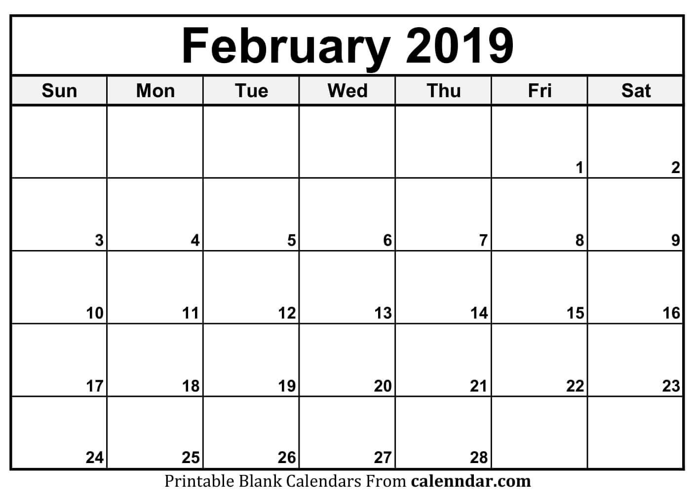 Calendar Pages February 2019 Free Printable Feb 2019 Calendar | Blank February 2019 Calendar