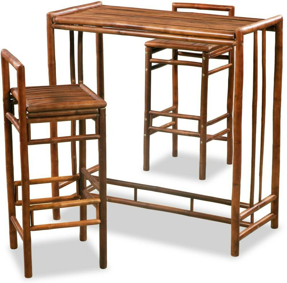 Details About 3pc Bar Set Bistro Cafe Shop Pub Table Tall Stools Bamboo Kitchen Dining Room Uk Shop Chair Dining Room Uk Outdoor Stools
