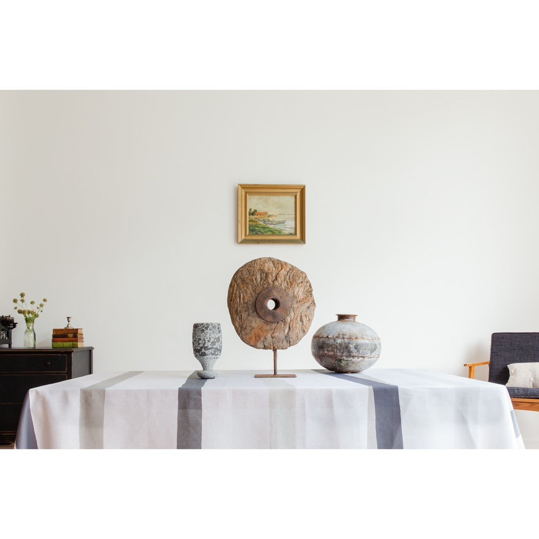 Huddleson Linens   White Grey Charcoal Ivory Cream Stripe Linen Tablecloth  Modern Contemporary