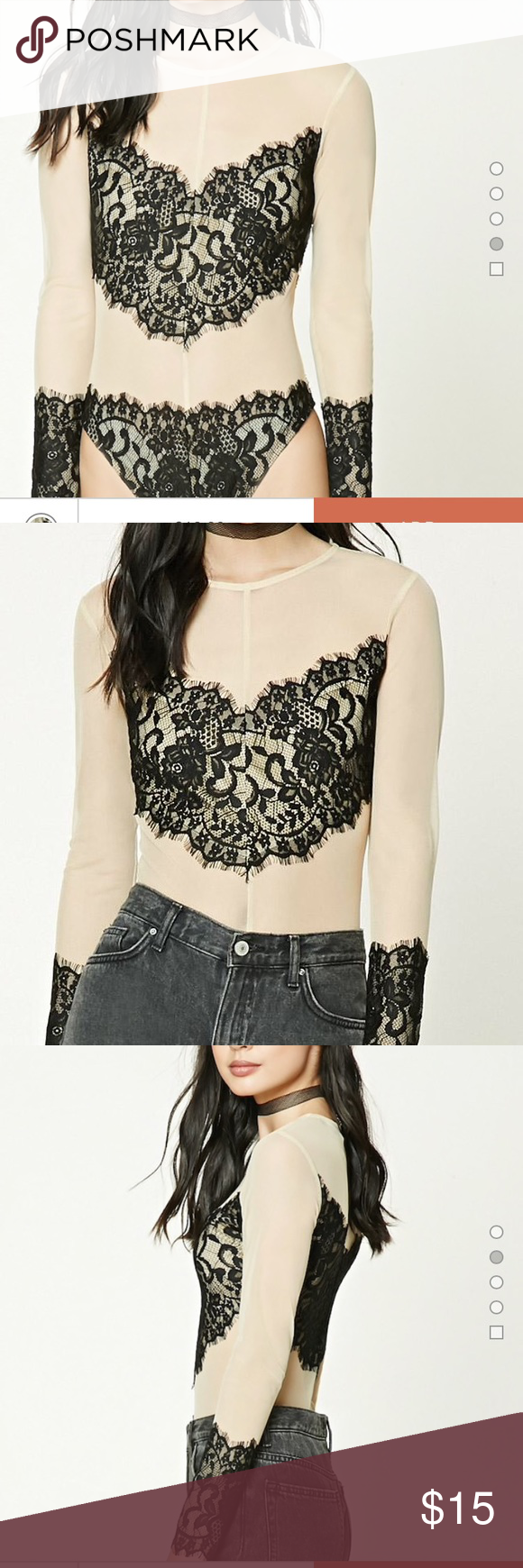 Forever 21 Sheer Eyelash Lace Bodysuit This bodysuit is simply stunning! I bought it for an event and ended up wearing something else, and I found it in my closet today! Sheer nude long sleeve bodysuit with black lace across the chest, bottom, and the sleeves are trimmed with it also! Zips up the back. NWT, I have never worn this! Great deal!  Forever 21 Tops