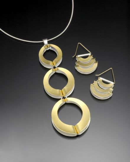 Mod Circles Pendant and Earrings by Thea Izzi: Bimetal Pendant and Earrings available at www.artfulhome.com