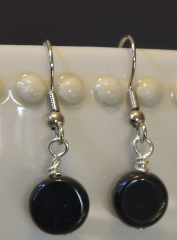 Black Round Flat Glass Beaded Earrings On by