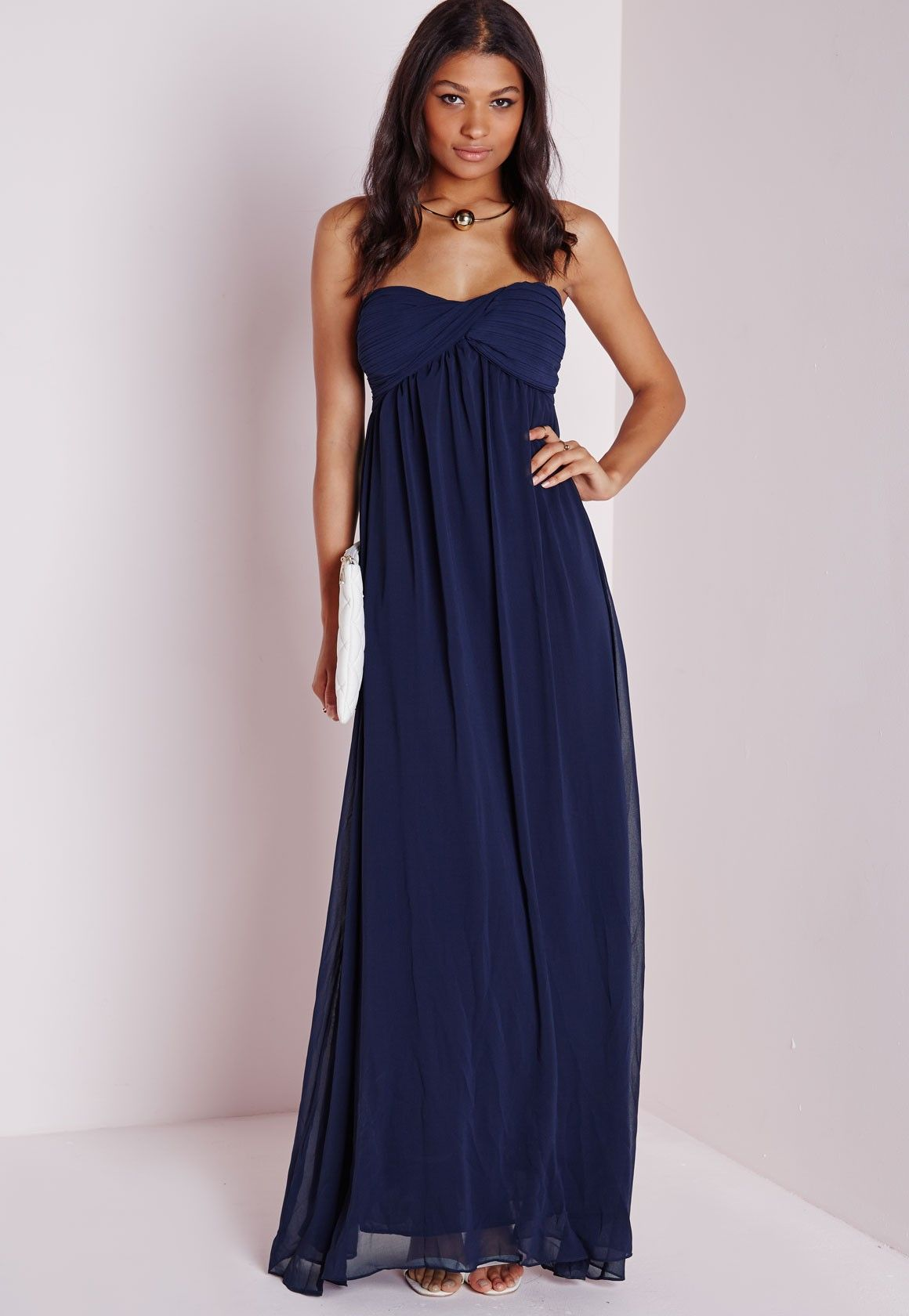 ae220851ec0 Missguided - Robe longue en mousseline bleu marine