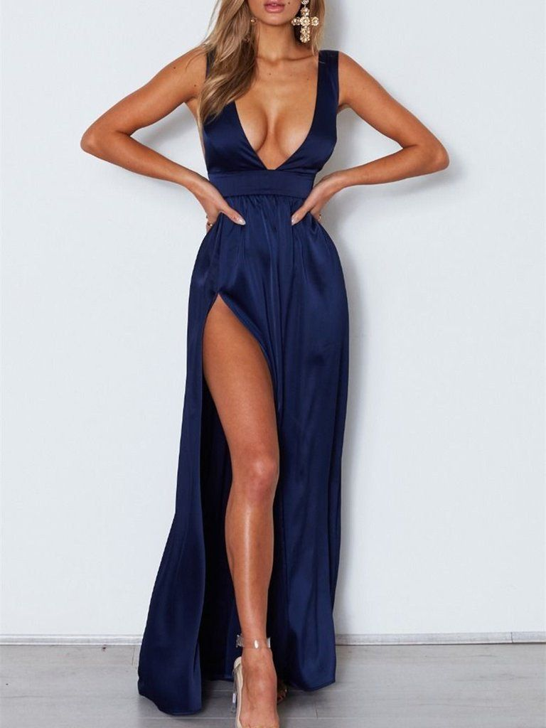 Simple v neck backless navy blue long prom dresses with slit navy