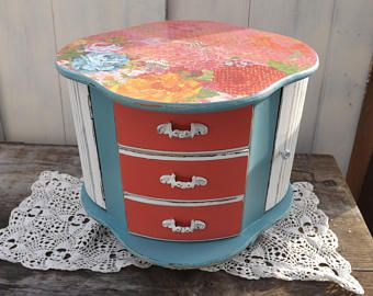 Vintage Upcycled Jewelry Box Decoupaged Jewelry StorageDistressed