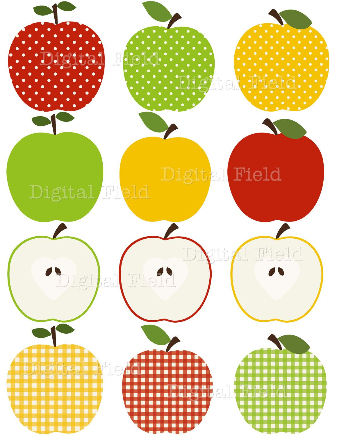 medium resolution of apple clip art set red green and yellow patterned digital clipart personal and small commercial use 2 50 via etsy