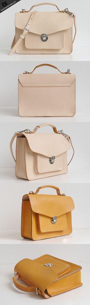 Handmade leather crossbody Satchel School messenger Shoulder Bag for w | EverHandmade