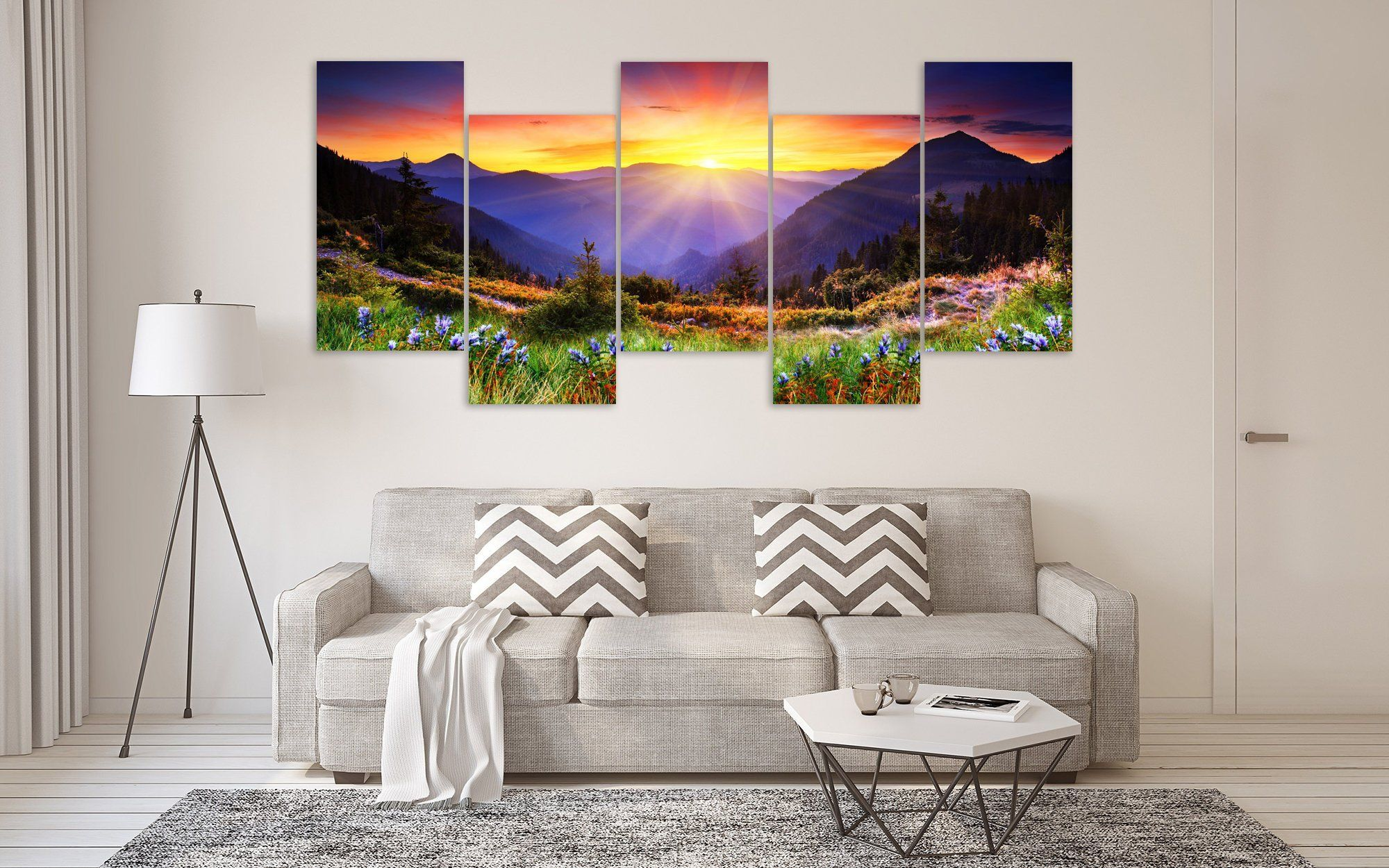 Mountains Wall Art Mountains Landscape Poster 5 Panel Canvas Art