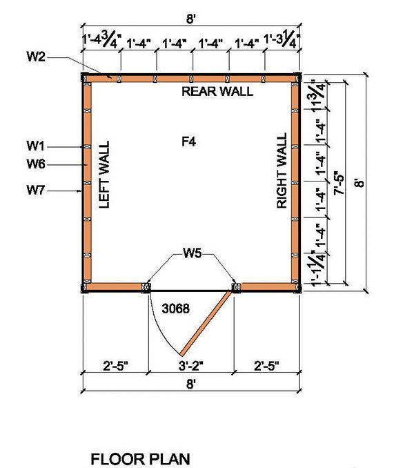 8x8 Lean To Shed Plans 02 Floor Plan Diy Pinterest Shed Plans