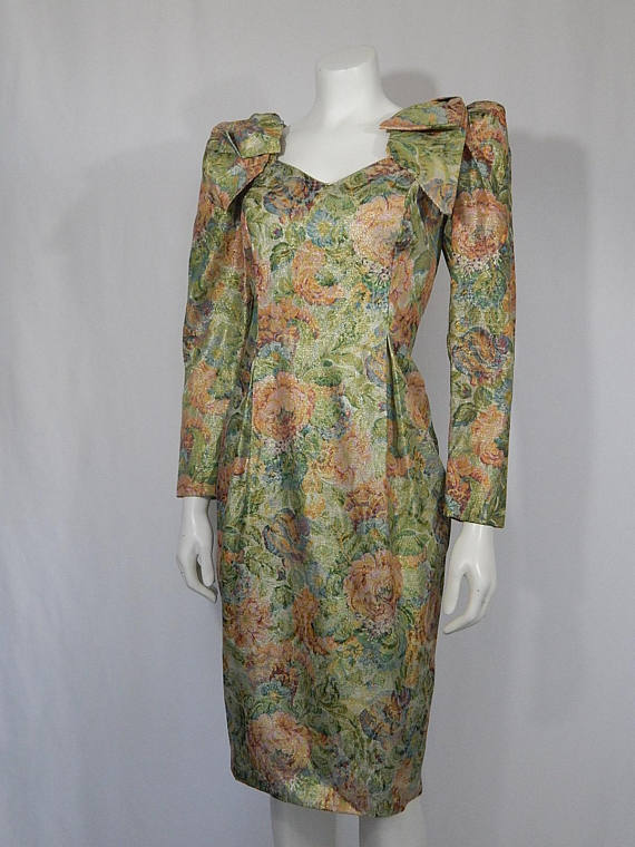 8ef80de62b Vintage Dress 80s Eighties OTT Bows on Shoulder Pads XS Extra Small 4 Gold  Pink Green Blue Cream Flo