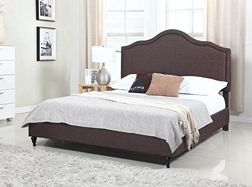 Home Decorators Collection | Home Life Cloth Brown Linen 51 Tall Headboard  Platform Bed With Slats