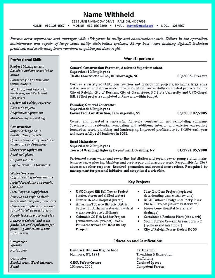example of construction foreman resume