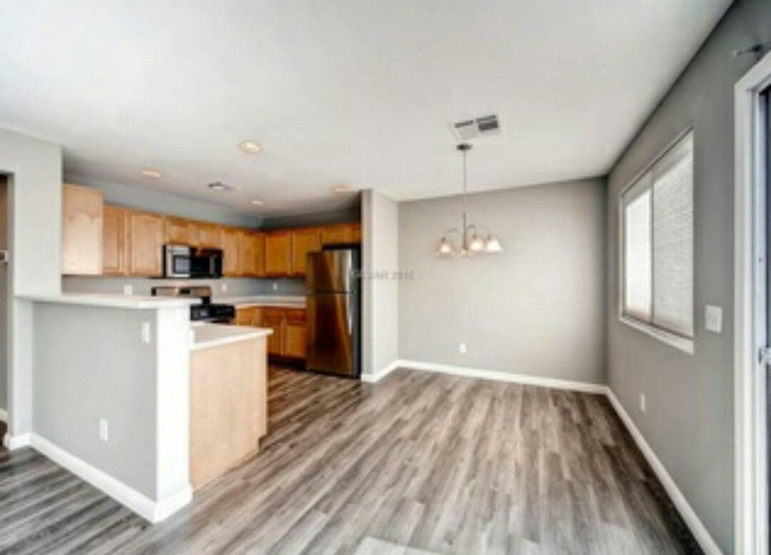 Best Gray Walls Medium Wood Floors White Trim Kitchen 400 x 300