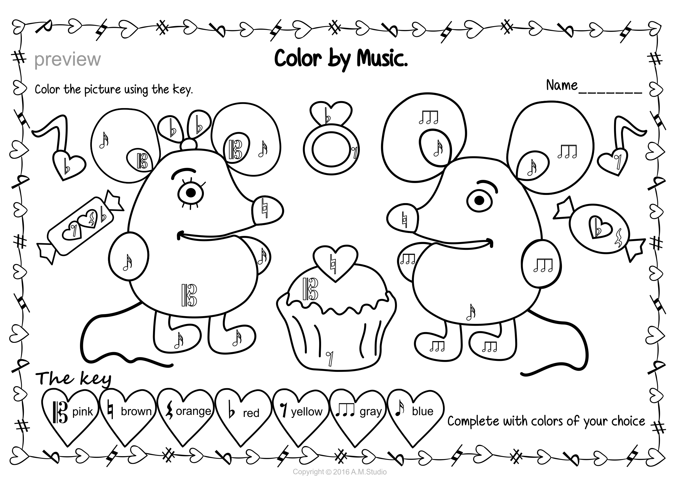 Valentine S Day Color By Note And Symbol Activities Pack