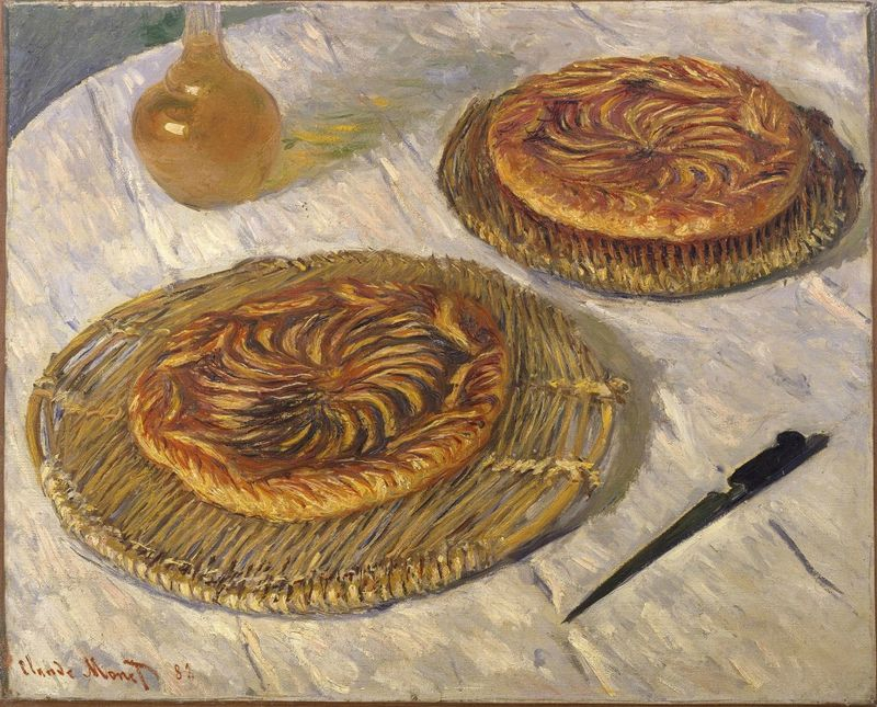 Claude Monet (French, 1840–1926), Apple Galettes, 1882. Oil on canvas. Probably given by Monet to pastry chef and hotel manager Paul Graff in Pourville, France, in 1882. Lent by Graff to Monet's 1883 solo exhibition. Private Collection