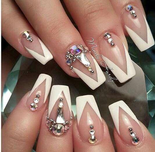 French V Shape Bling Stylish Nails Designs Studded Nails Bling Nails