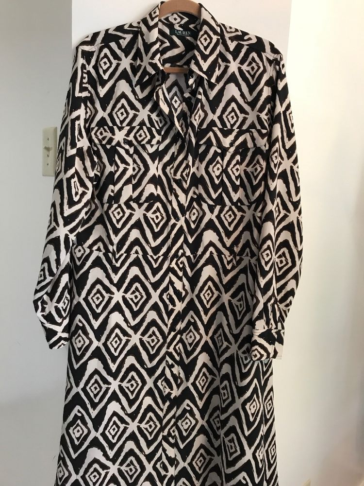 4b8b678c Lauren Ralph Lauren Women Dress Size 16 Brown Geometric Shirt Dress Long  Sleeve #LaurenRalphLauren #DressShirt #Work