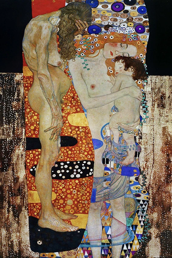 Photo of Famous Artists Gustav Klimt Wall Art Three Ages Of Woman Fine Art Canvas Giclee Print Classic Painting Symbolizing The Cycle Of Life