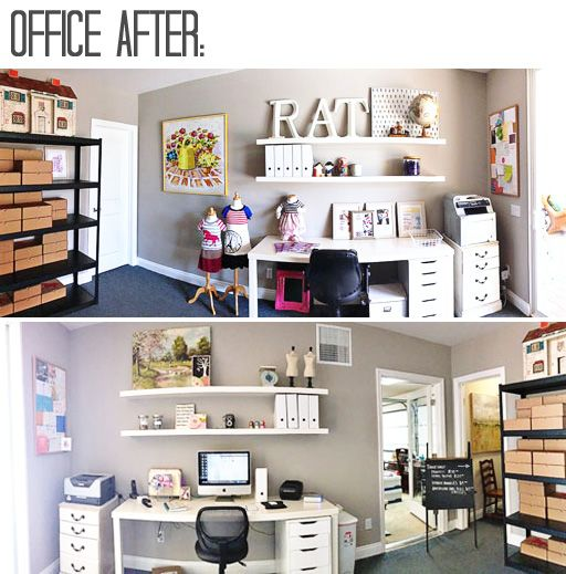 Tips For Redecorating Your Home Office: Office Makeover Re-decorating AFTER Via Lilblueboo.com