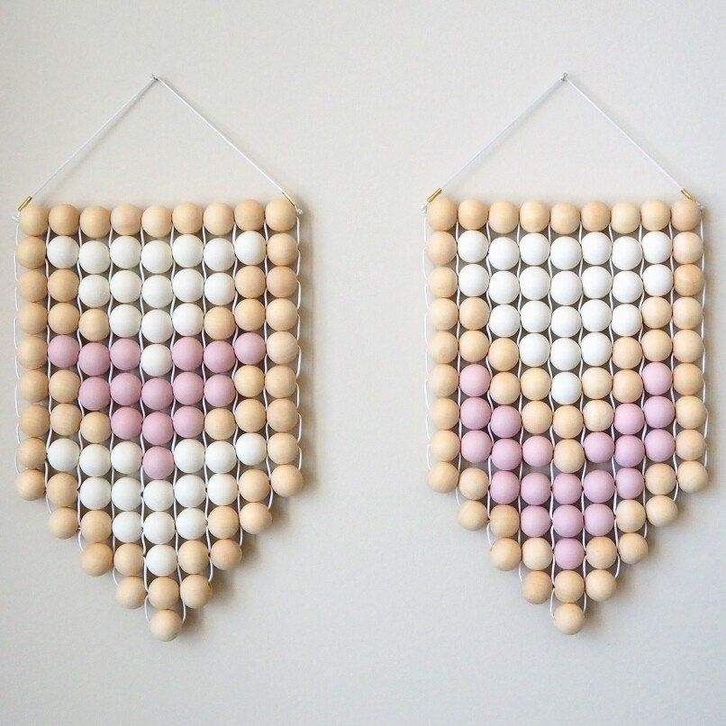 Wall Hanging Woven Wood Bead With Pastel Dusky Lilac Pink White Modern Minimalist Wood Bead Garland Diy Wooden Wall Wooden Wall Hangings