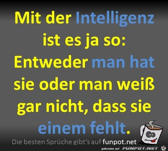 Ja Das Ist Schon So Eine Sache Mit Der Intelligenz Es Leiden Immer Die Anderen Life Humor Happy Quotes True Words