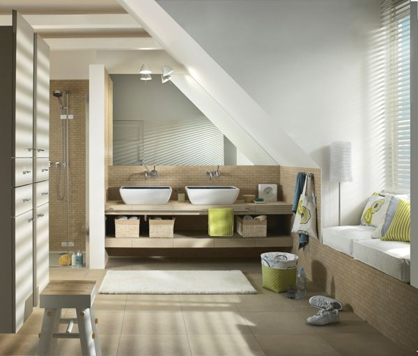 Modern Attic Bathroom Slope Celing Neutral Colors Pastel Shades