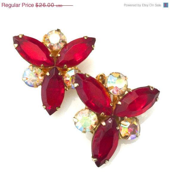 Juliana D& E Ruby Red Rhinestone Earrings Ruby by Vintageimagine