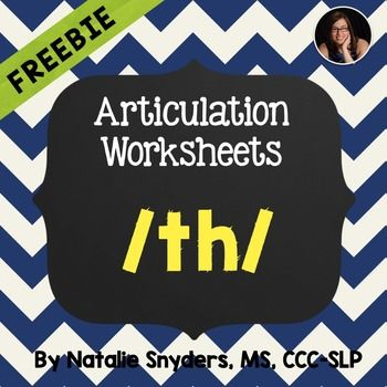 FREE: Worksheets for the /th/ sound when working on articulation in ...