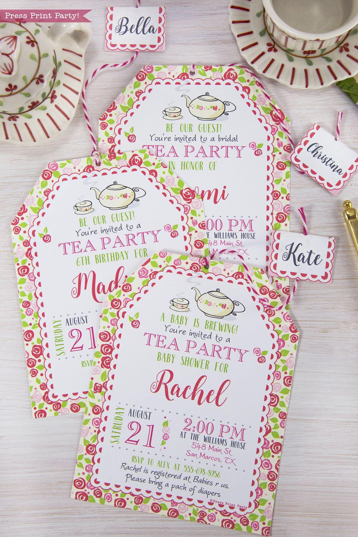 Tea Party birthday Invitation Printable, Tea Party Invitation, Tea ...