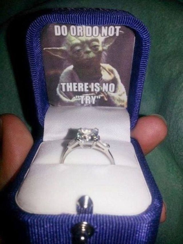 Yoda Marriage Proposal Ring Star Wars Humor Star Wars Fans Star Wars Memes