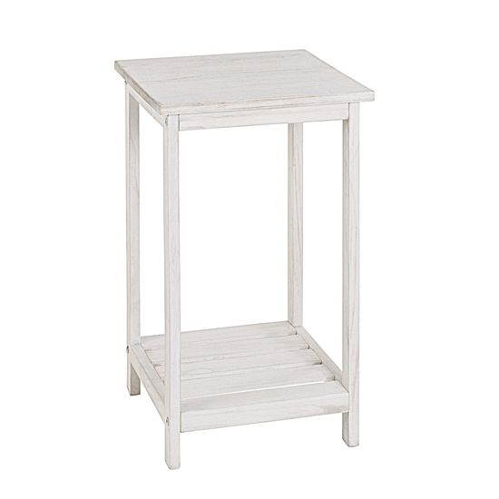 Tanja Wooden Telephone Table In White 26315