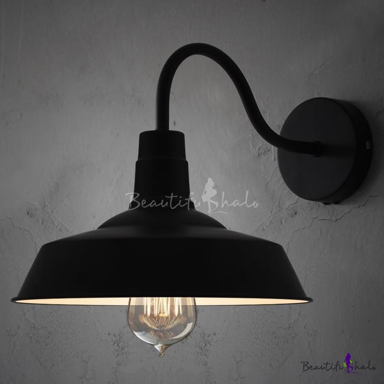 Black Barn Style Shade Wall Light with Gooseneck Arm & Black Barn Style Shade Wall Light with Gooseneck Arm | Black barn ... azcodes.com