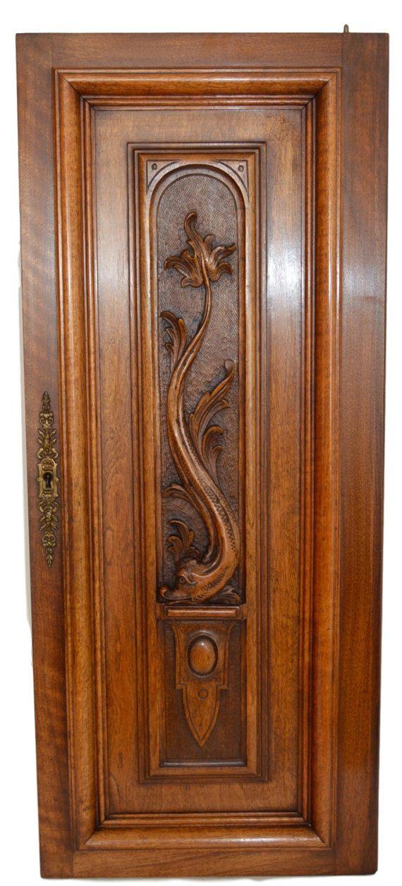 French Antique Neoclassical Dolphin Carved Salvaged Wood Door Panel - Cupboard  Door - Architectural Wood Salvage - RESERVED French Antique Neoclassical Dolphin Carved Salvaged Wood
