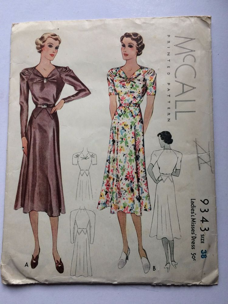VINTAGE dress pattern 1950s McCall\'s 9343 in Crafts, Sewing ...