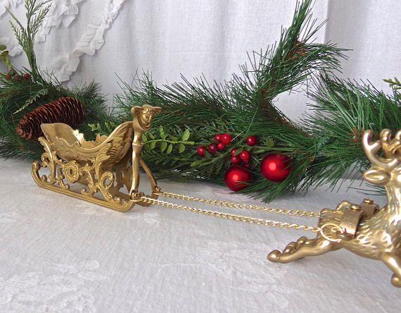 Vintage Santa Sleigh and Reindeers Brass Christmas Sleigh
