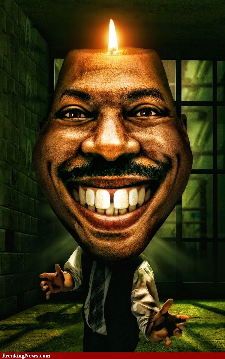 Eddie Murphy Caricature with a Candle on his Head