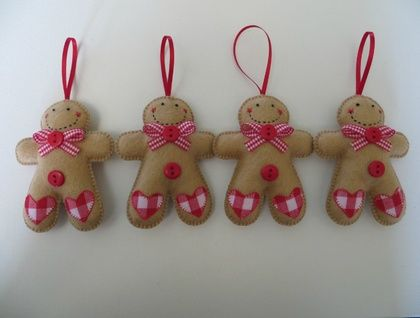 Small Felt Gingham Gingerbread Man Ornament Christmas Crafts For