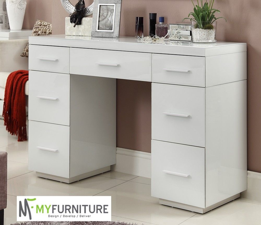 Rio Mirrored White Glass Dressing Table Console 7 Drawer