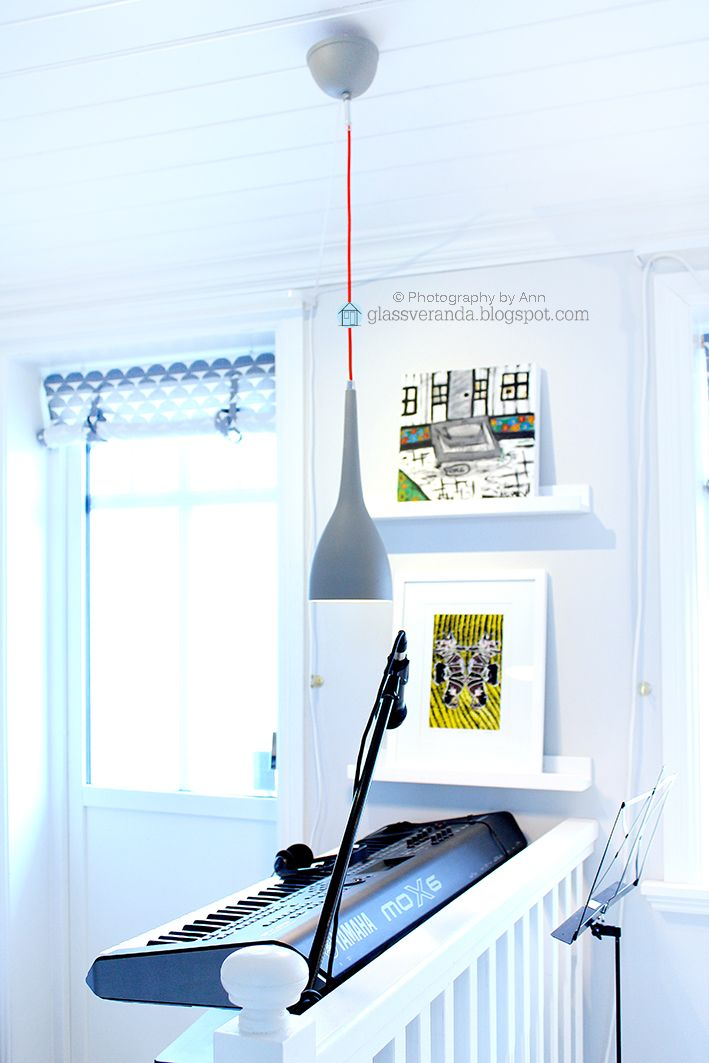 Love this red string lamp hanging from the roof in a corner of our livingroom! :)) To see more: https://www.instagram.com/glassveranda_interior/ and http://glassveranda.blogspot.com/