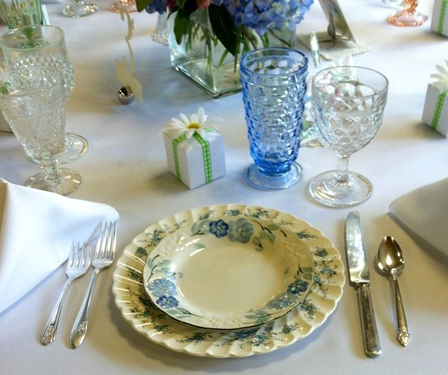 Beautiful blue place setting with vintage china glassware and silverware - Southern Vintage Table : table place settings silverware - pezcame.com