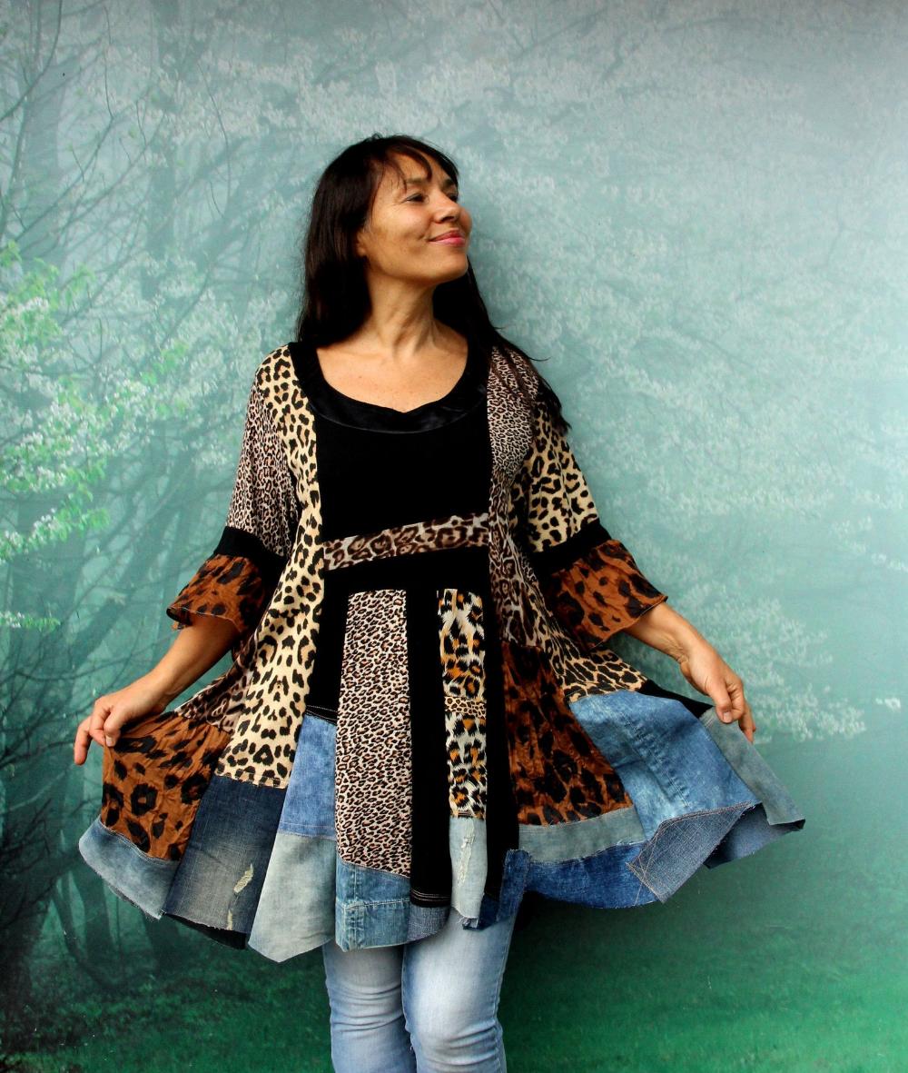 L-LXL Roses appliqued grid dress recycled  hippie boho romantic